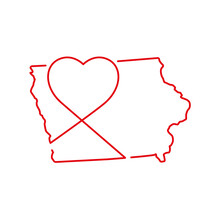 Iowa US State Red Outline Map With The Handwritten Heart Shape. Vector Illustration
