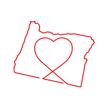 Oregon US State Red Outline Map With The Handwritten Heart Shape. Continuous Line Drawing Of Patriotic Home Sign. A Love For A Small Homeland. T-shirt Print Idea. Vector Illustration.