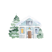Watercolor Winter House, Christmas Home Illustration