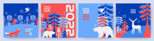Merry Christmas And Happy New Year Set Of Greeting Cards, Posters, Holiday Covers. Modern Xmas Design In Blue, Red, White Colors. Winter Landscape With Fairy Forest, White Bear, Deer, Bullfinch, Fox
