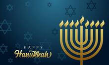 Happy Hanukkah Greeting Card, Golden Menorah And David Stars. Hanukka Gold Colors Candelabrum Used In Jewish Worship With Eight Branches. Vector Illustration