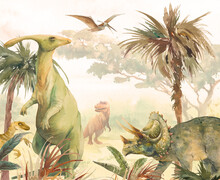 Watercolor Landscape: Dino World. Hand Painted Nature View With Palms, Plants And Dinosaurs. Beautiful Jurassic Period Scene
