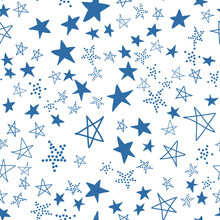 Seamless Pattern, Chaotically Scattered Stars, Blue White Design Vector With Star Element