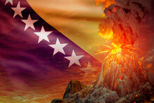 Conical Volcano Eruption At Night With Explosion On Bosnia And Herzegovina Flag Background, Problems Of Natural Disaster And Volcanic Ash Concept - 3D Illustration Of Nature