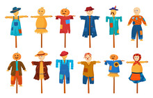 Garden Stuffed Animals Set Vector. Agricultural Scarecrows With Pumpkin Head For Guard Harvest