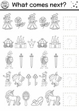 What Comes Next. Black And White Fairytale Matching Activity With Traditional Fantasy Symbols And Characters. Funny Magic Kingdom Puzzle Or Coloring Page. Continue The Row Game..
