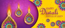 Diwali, Deepavali Or Dipavali, The Indian Festival Of Lights On Blue Color Background