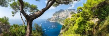 Capri Island Belvedere Di Tragara Panorama, Naples, Italy