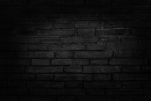 Black Grey Brick Wall Texture With Vintage Style Pattern For Background And Design Art Work.