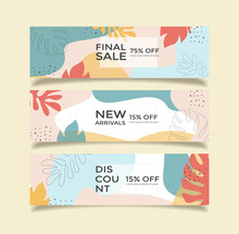 Promotion Sale Web Banners Collection In Floral Style. Botanical Vector Sale Banners Set For Advertising. Geometric Shapes, Floral Elements, Beige, Pastel Colors. Vector Sale Backgrounds.
