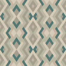 Mosaic Seamless Texture. Abstract Rustic Pattern. Vector Geometric Background Of Triangles In Brown And Green Colors