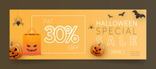 Halloween Sale Banner Or Facebook Cover Page Timeline, Web Ad Template With Pumpkins And Bats On Yellow Background.