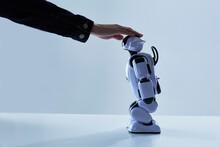 ロボットの頭を撫でる人間の手