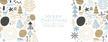 Christmas New Year Winter Cartoon Doodle Banner