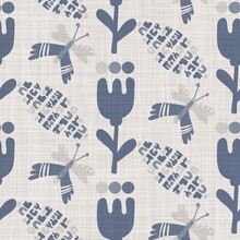 Seamless French Farmhouse Linen Butterfly Fabric Background. Provence Blue Gray Pattern Texture. Shabby Chic Style Woven Background. Textile Rustic Scandi All Over Print Effect. Watercolor Paint Motif