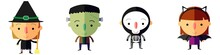 Et Of Halloween Characters. Vector Mummy, Zombie, Vampire, Ghost, Bat, Death, Witch, Pumpkin Head, Frankenstein . Great For Party Decoration