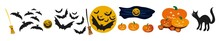 Halloween Collection With Hand Drawn Elements, Witch, Ghosts And Wreath. Vector Set Of Halloween Design Elements . Halloween Cliparts With Traditional Symbols And Handwritten Lettering.