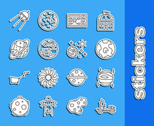 Set Line Mars Rover, Planet Venus, Earth Globe, Futuristic Hud Interface, Space Capsule And Parachute, Satellite And Planet Icon. Vector