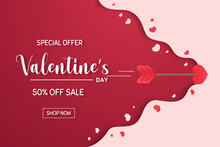 Love Arrow Shot By Little Cupid Opening Of Red With A Special Discount On Valentine's Day.