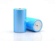 Duas Pilhas Ou Baterias Azuis Em Um Fundo Branco - Ilustração 3D