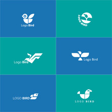A Set Of Logos With A Logogram Shape Resembling A Bird. It Is Suitable For Company Logos In Aviation Or Tourism.