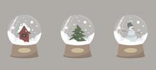 Set Of Merry Christmas Glass Ball Collection. Vector Illustration.