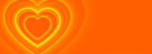 Orange Hearts Banner With Text Space Design
