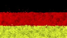 Colorful Animation Of The Flag Of Germany, Gradually Emerging From A Moving Swirling Cloud Consisting Of Many Colorful Small Particles. The Particles Rotate, Forming The National Flag Of Germany.