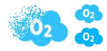 Fractured Pixelated Oxigen Cloud Pictogram With Halftone Version. Vector Destruction Effect For Oxigen Cloud Pictogram.
