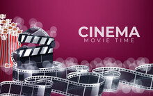 Cinema Red Background With 3d Realistic Objects Popcorn, Tape, Tickets And Clapperboard. Vector Concept Colorful Illustration With Elements Of Film Industry. Template For Ad, Poster, Presentation