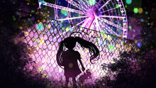 The Silhouette Of A Little Girl With Long Hair In Ponytails, Through The Lattice She Looks At A Beautiful Amusement Park With Lots Of Bright Lights And A Herald, Night Scene 2d
