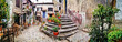 Leinwanddruck Bild - Most beautiful medieval villages of Italy - Calcata with charming floral narrow streets