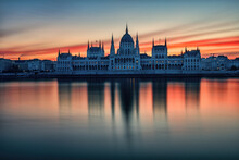Hungarian Parliament Building At Sunrise