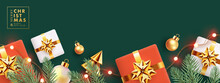 Christmas Design With Horizontal Border Made Of Realistic Fir Branches, Gift Boxes, Golden Conical Christmas Trees, Balls And Lights On Deep Green Background. Xmas Banner, Poster, Card, Website Header
