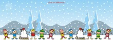 Find Ten Differences, Game, Little Kids With Sledge And Snowman On The Mountain, Vector Illustration
