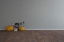 Modern Mock Up With Halloween Theme Interior Design. 3D Illustration