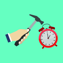 Breaking Alarm Clock With Hammer Illustrated On White Background