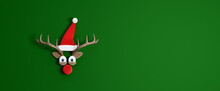 Reindeer With Santa Claus Hat. Christmas Holidays Concept With Green Copy Space 3d Render 3d Illustration