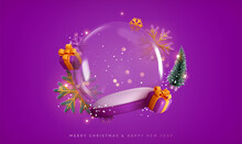 Christmas Snow Glass Winter Ball. Template Round Podium Studio Space For Objects Festive Design. Realistic 3d Elements, Gift Box, Gold Snowflake, Xmas Green Tree, Bokeh Lights. Vector Illustration