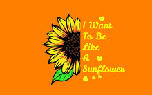 Sunflower Design For T-shirts Or Vector Products