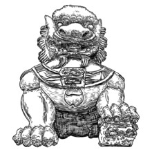 Chinese Imperial Guardian Lion. Used In Palaces And Tombs, Temples, And The Homes For Powerful Mythic Protective Benefits. Symbolic At The Entrances And Doors. Carved From Decorative Stone. Vector.