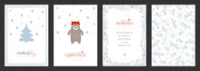 Holiday Cards With Christmas Tree, Bear, Birds, Backgrounds, Ornate Floral Frames And Copy Space. Universal Modern Artistic Templates.