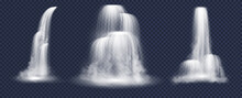 Waterfalls And Water Fall Cascades Set Of Mountain River Streams Falling Down With Splashes