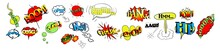 Comic Speech Bubbles Or Sound Replicas. Comic Books Speech Bubbles. Black And White Speech Balloons With Halftone Pattern Shadows. Multicolored Comic Sound Effects