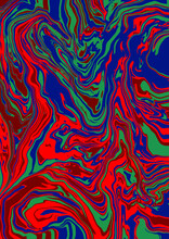 Fluid Art Texture. Abstract Background With Swirling Paint Effect. Liquid Acrylic Picture That Flows And Splashes. Mixed Paints For Interior Poster. Red, Blue And Green Overflowing Colors
