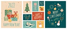 Merry Christmas And Happy New Year Greeting Cards Template. Vector Set Of Winter Holiday Illustrations In Vintage Style. Christmas Tree And Gifts. 2022 New Year Hand Drawn Poster