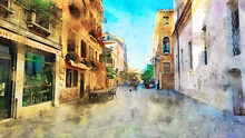 Beautiful View Of The Venetian Street, Buildings, Shops And Cafes And Passers-by. Color Watercolor Drawing. The Streets Of The Old European City. Art Postcard With Views Of Venice And Italy
