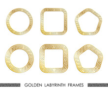 Set Of Golden LABYRINTH Round And Square Frames For Decorative Headers. Golden Ancient Greek Ornaments Isolated On White Background. Vector