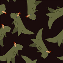 Cute  Cartoon Vector Pattern With Dinosaurs Tyrannosaurs Wearing Funny Caps On Black Background . Stylish Childish Print For Textiles, Wallpapers, Designer Paper, Etc