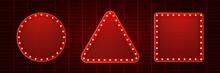 Retro Light Bulb Or Light Vintage Signboard On Red Wall Background. Vector Illustration